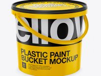 Plastic Bucket Mockup - Halfside View (High-Angle Shot)