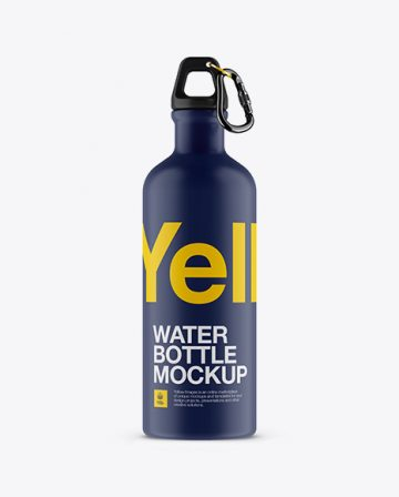 Matte Water Bottle Mockup - Front View