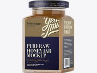Pure Raw Honey Glass Jar Mockup - Halfside View