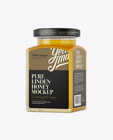 Pure Linden Honey Glass Jar Mockup - Halfside View