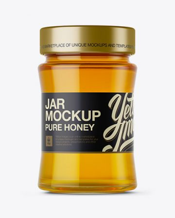 Glass Jar w/ Pure Honey Mockup