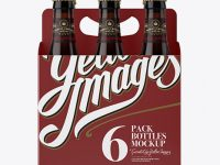 White Paper 6 Pack Amber Bottle Carrier Mockup - Front View