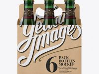Kraft Paper 6 Pack Green Glass Bottle Carrier Mockup - Front View