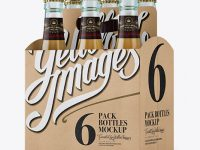 Kraft Paper 6 Pack Beer Bottle Carrier Mockup - Halfside View