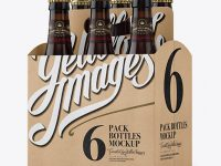 Kraft 6 Pack Amber Bottle Carrier Mockup - Halfside View