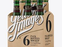 Kraft 6 Pack Green Bottle Carrier Mockup - Halfside View