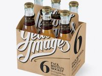 Kraft Paper 6 Pack Beer Bottle Carrier Mockup - Halfside View (High-Angle Shot)
