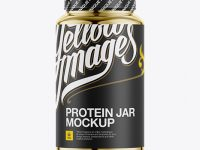Nutritional Supplement Bottle With Chrome Finish Mockup - Eye-Level Shot