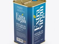 Olive Oil Tin Can w/ Handle Mockup - Halfside View