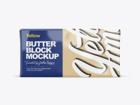 250g Glossy Butter Block Mockup - Front, Top & Side Views