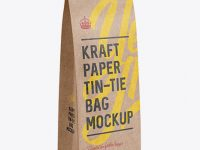 Kraft Paper Bag w/ a Plastic Tin-Tie Mockup - Halfside View