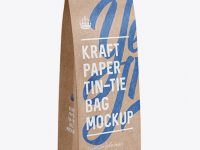 Kraft Paper Bag w/ a Paper Tin-Tie Mockup - Halfside View