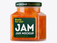 Glass Apricot Jam Jar Mockup - Halfside View