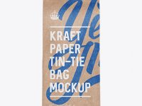 Kraft Paper Bag w/ a Paper Tin-Tie Mockup - Front View