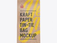 Kraft Paper Bag w/ a Plastic Tin-Tie Mockup - Front View