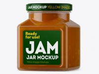 Glass Apple Jam Jar Mockup - Halfside View