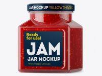 Glass Raspberry Jam Jar Mockup