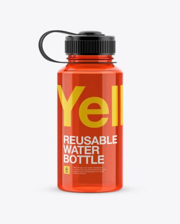 Red Plastic Reusable Water Bottle Mockup