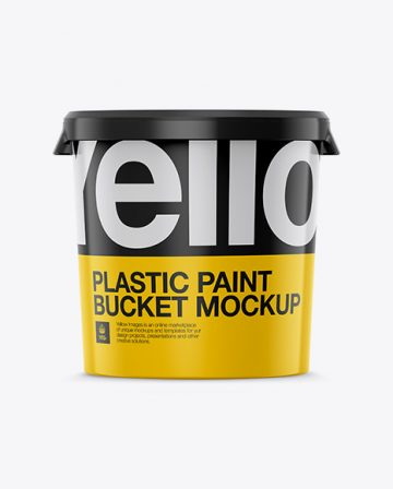 Plastic Paint Bucket Mockup - Eye-Level Shot