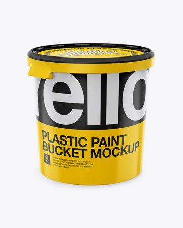 Plastic Paint Bucket Mockup - High-Angle Shot