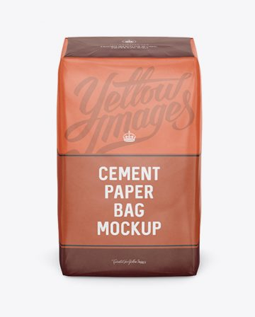 Cement Paper Bag Mockup - Front View (High-Angle Shot)