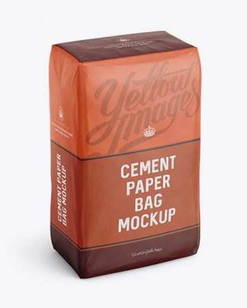 Cement Paper Bag Mockup - Halfside View (High-Angle Shot)