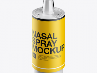 Nasal Spray Bottle with Button High Angle Mockup