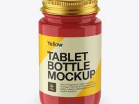 Glossy Pill Bottle With Metal Cap Mockup - High-Angle Shot