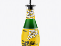 Green Mint Syrup Glass Bottle Mockup