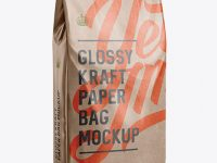 Glossy Kraft Paper Bag Mockup - Halfside View