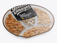 Plate with Nuts in Matte Film Mockup - Half Side View (High Angle Shot)