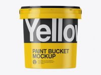 Glossy Plastic Paint Bucket Mockup - Front View