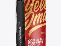 16oz Matte Metallic Coffee Bag Mockup - Half Side View