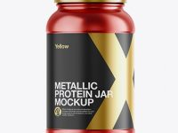 Metallic Protein Jar Mockup - Front View
