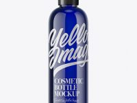 250ml PET Blue Cosmetic Bottle Mockup
