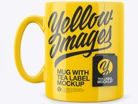 Glossy Mug With Tea Label Mockup - Front View
