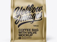 Metallic Coffee Bag With Valve Mockup - Front View