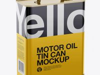 Motor Oil Tin Can Mockup - Halfside View