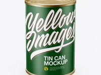 Tin Can With Paper Label Mockup (High-Angle Shot)