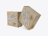 Two Kraft Paper Boxes Mockup - Half Side View