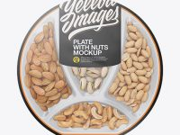 Plate with Nuts in Matte Film Mockup - Top Views