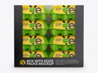 Opened Box with Eggs Cartons Mockup - Front View