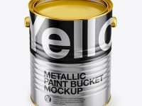 Opened Metallic Paint Bucket Mockup - Front View (High Angle Shot)