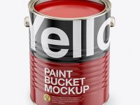 Opened Paint Bucket with Glossy Label Mockup - Front View (High Angle Shot)