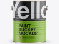Paint Bucket with Matte Label Mockup - Front View