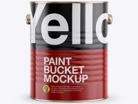 Paint Bucket with Glossy Label Mockup - Front View
