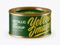 Matte Metallic Storage Jar with Paper Label Mockup (High-Angle Shot)
