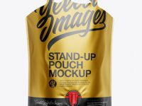 Metallic Stand-Up Pouch Mockup - Front View