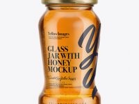 120g Glass Jar in Shrink Sleeve with Clear Honey Mockup