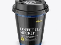 Coffee Cup With Sleeve Mockup - Front View (High-Angle Shot)